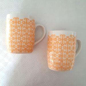 2 Sarbucks mugs tangerine print